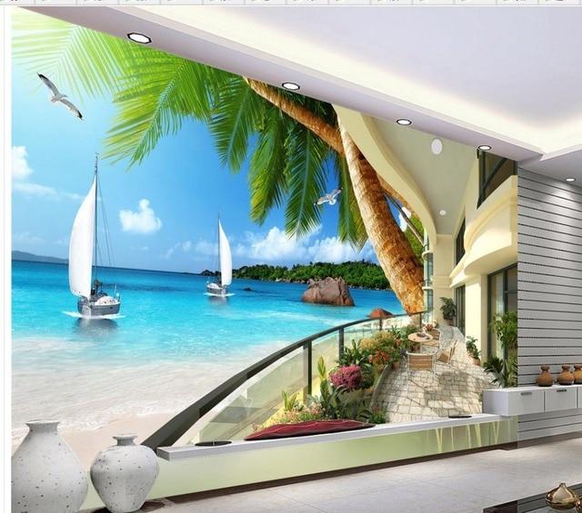 3d Tapete Für Zimmer Hawaii Resort Terrasse Meerblick Bäume Hintergrund  Wand Foto 3d Wallpaper