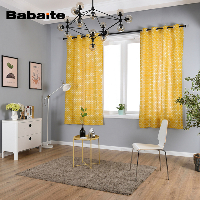yellow curtains for bedroom. Babaite Yellow Chessboard Curtain Modern Pastoral Printing Linen Fabric Curtains  for Bedroom Living Dining Room Aliexpress com Buy