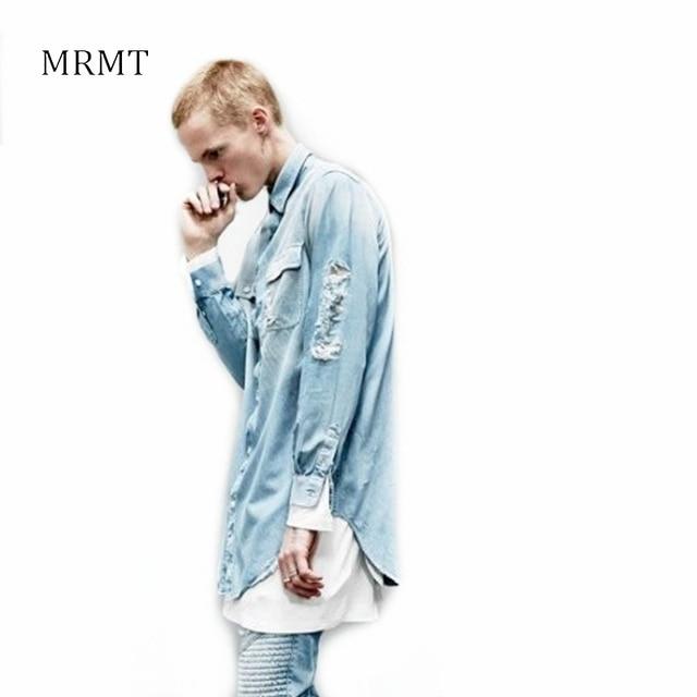 2018 Nuovo Uomo Distressed Denim Camicie Mens Hip Hop Blu Cowboy shirt  Manica Lunga Hiphop Streetwear 4cd2f4c8bb1f