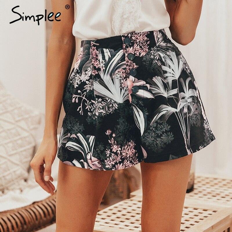 Simplee Bohemian Floral Print Women Shorts Summer Casual Button Elastic High Waist Female Bottom Shorts Streetwear Ladies Shorts
