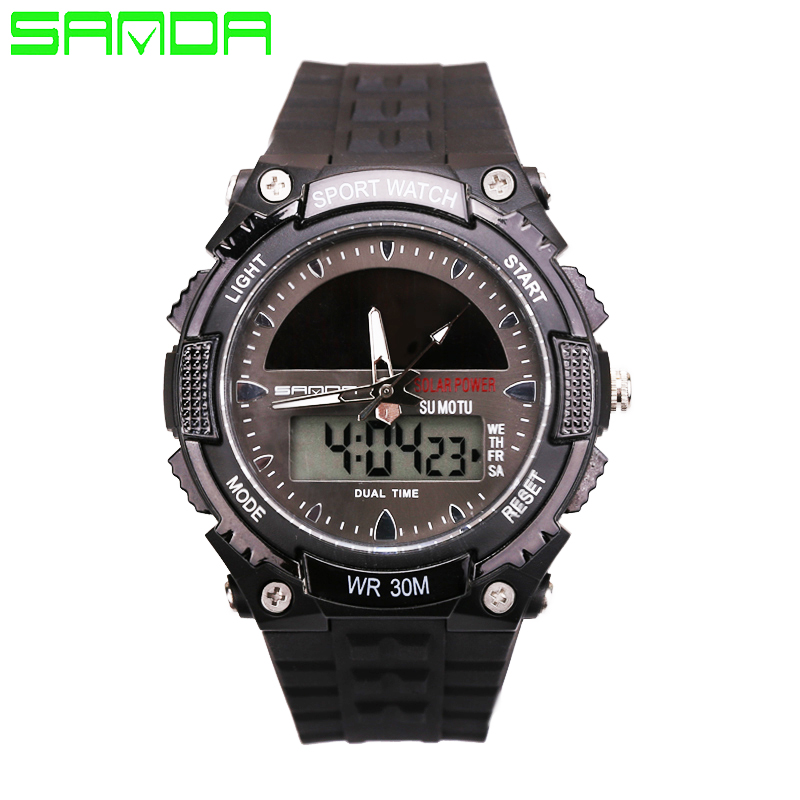 Herrenuhren Aktiv Sanda Männer Frauen Watch Army Military Solar Batterie Uhr Led Digitaluhr Fashion Casual Solar Energie Sport Uhren Ausgereifte Technologien
