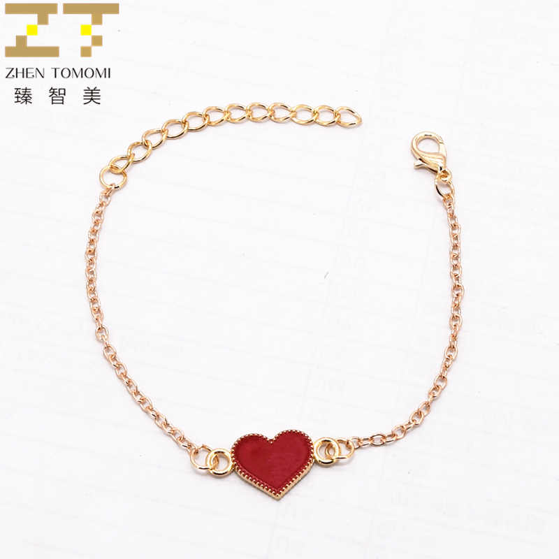 2019 New Hot Fashion Bijoux Simple Black Red Drop Oil Heart Butterfly Unlimited Charm Bangles Bracelets For Women Jewelry Gifts