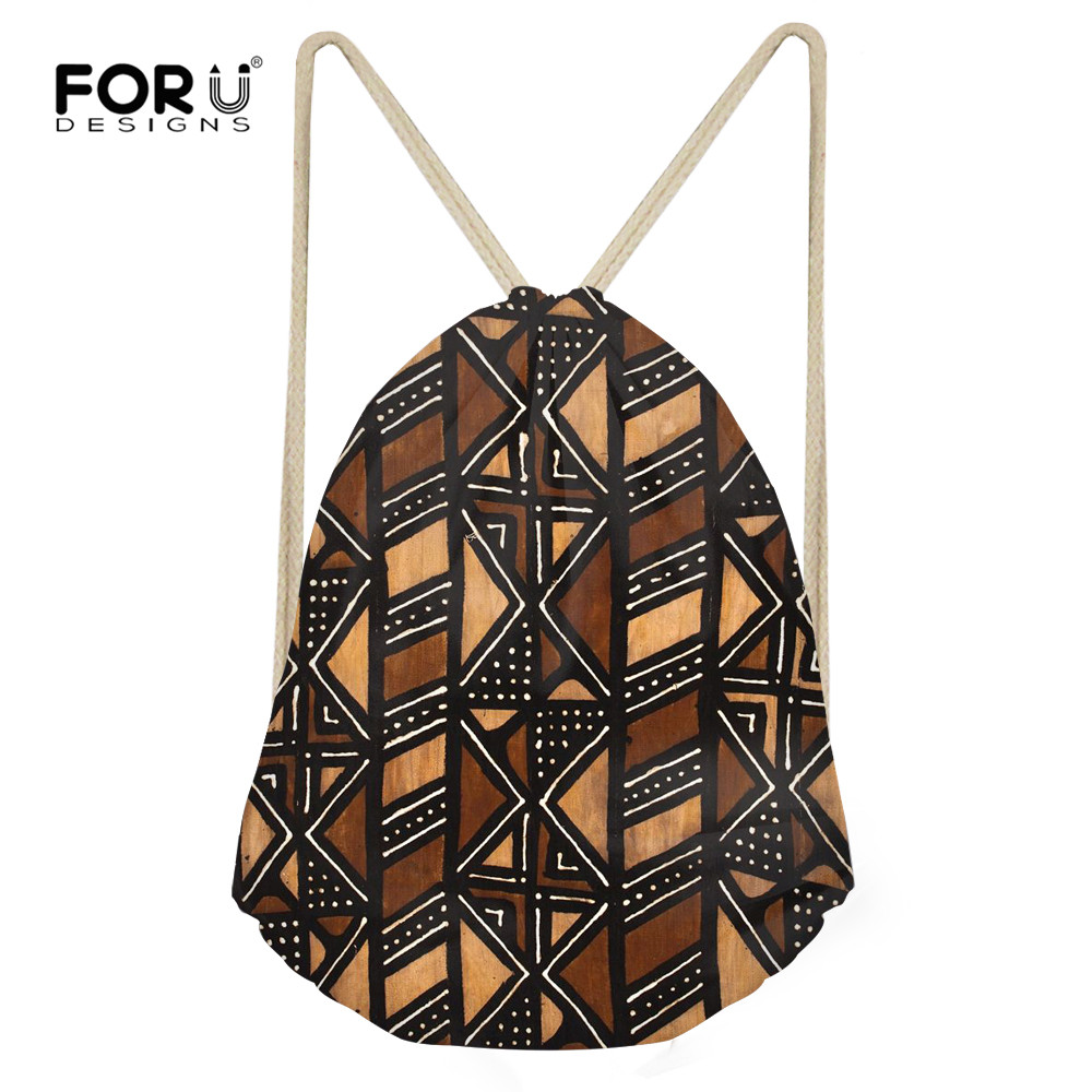 FORUDESIGNS Drawstring Bags African Vintage Stripe Print Backpacks For Women Travel Shoes Storage Bag Daily Casual Girl Knapsack
