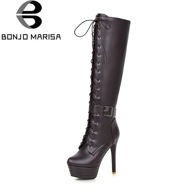 854613233e1 US $28.7 40% OFF|BONJOMARISA Plus Size 31 45 Lace Up Platform 13cm Super  Thin High Heels knee high Zip Boots For Women 2019 Thick Fur Addable-in ...