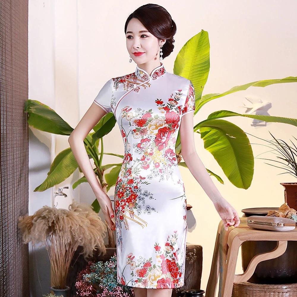 WHITE Flower Women Satin Cheongsam Summer New Slim Rayon Wedding Dress  Elegant Split Qipao Traditional Chinese Women Vestido 20XL