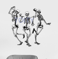 Funny Dancing Skeletons Party Horror Halloween Wall Room Decor Art Vinyl Decal Sticker Mural H61cm X