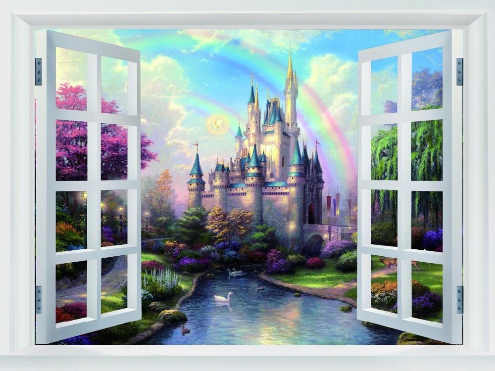 Castillo de cenicienta pintura arte ventanas falsas decor