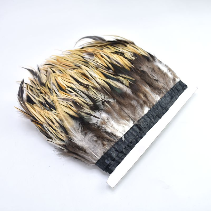 1Meters natural Pheasant feathers trimming ribbon Crafts plumas 10 15cm party feathers Fringe for Sewing DIY clothes decoration in Feather from Home Garden