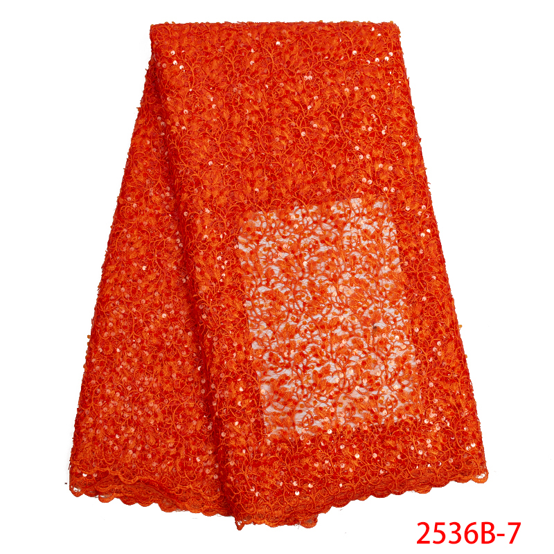 Burnt Orange Nigerian Lace Fabric with Sequins 2019 High Quality African Cord Lace Sequin Lace Fabric