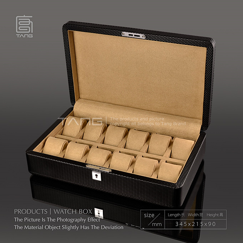 Luxury Leather Watch Display Boxes Case New Black Color Mechanical Watch Gift Cases With Lock New Watch Storage PU Jewelry Box 2018 carbon fiber watch box with glass fashion black pu leather watch storage boxes new watch and jewelry gift display case