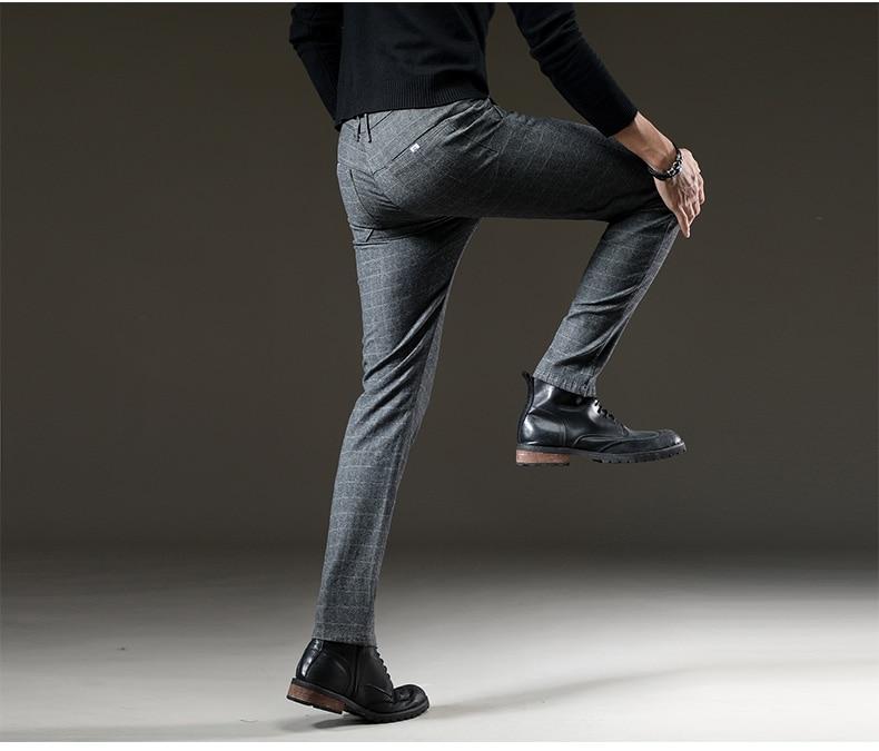 jantour Brand Pants Men Casual Elastic Long Trousers Male Cotton lattice straight gray Work Pant men's autumn Large size 28-38