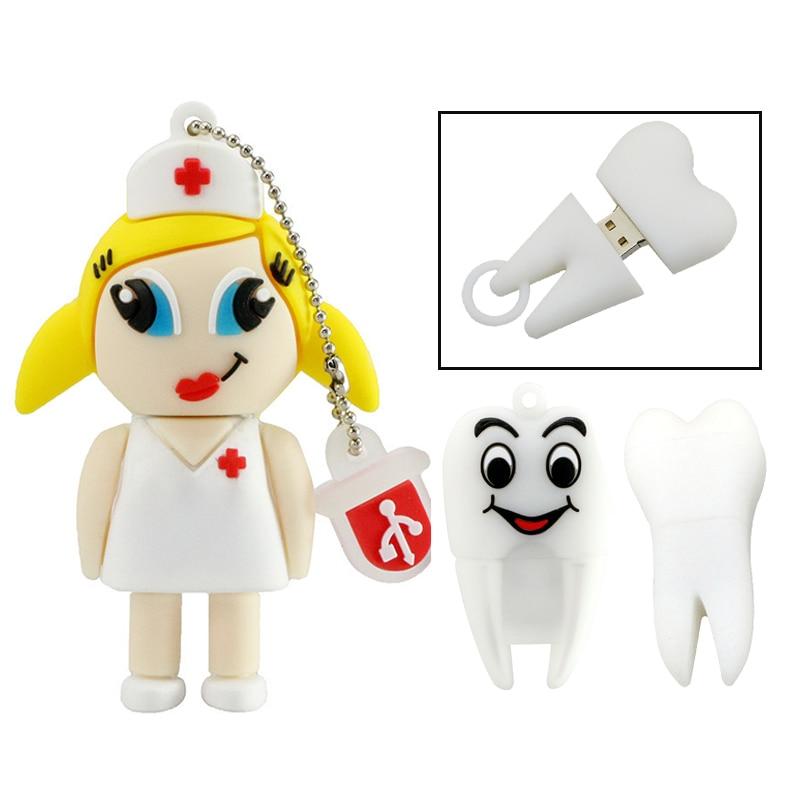 Usb Flash Drive Pendrive Dentist Teeth Pendrive 16GB 8GB 4GB Cartoon Nurse Doctor Tooth Memory Storage Usb 2.0 Pen Drive Gift