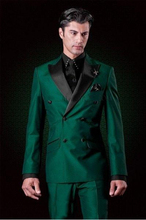 The classic design of the double breasted green dress groom groomsman tip best suit men men suit (jacket + pants + T