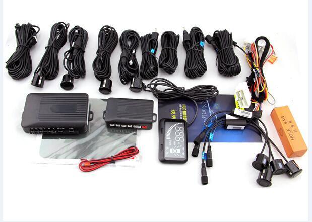 5.5 car OBD II HUD blind spot detection 8 sensor full HUD driving parking assistant  system 4rear  2 blind 2 front sensor