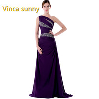 Vinca Sunny Long Prom Dresses 2017 One Shoulder Sleeveless Floor Length Mermaid Crystal Beaded Evening Dress