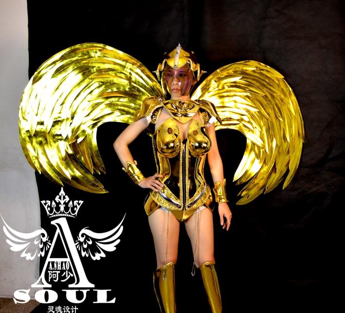 Atmosfärisk elektroplätering guldvingar medförd kvinnlig kostym - Semester och fester