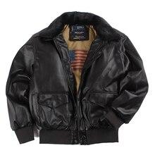 2019 Winter Vintage A2 leather jacket men streetwear Removable fur flight motorc
