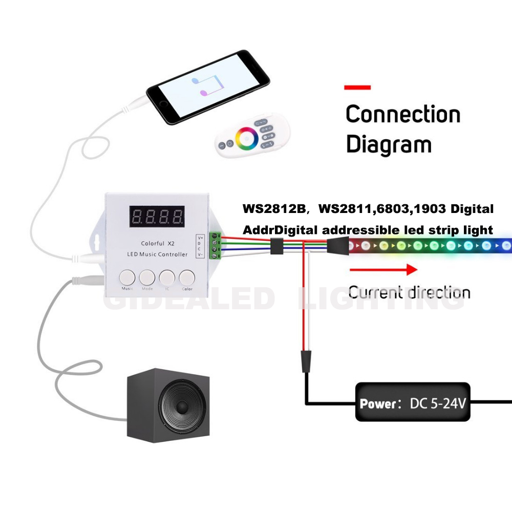 Hot Touch Remote Music Controller for 1000pixels WS2812B <font><b>WS2811</b></font>/WS2812/USC1903 6803 IC Individually Addressable <font><b>LED</b></font> Strip light
