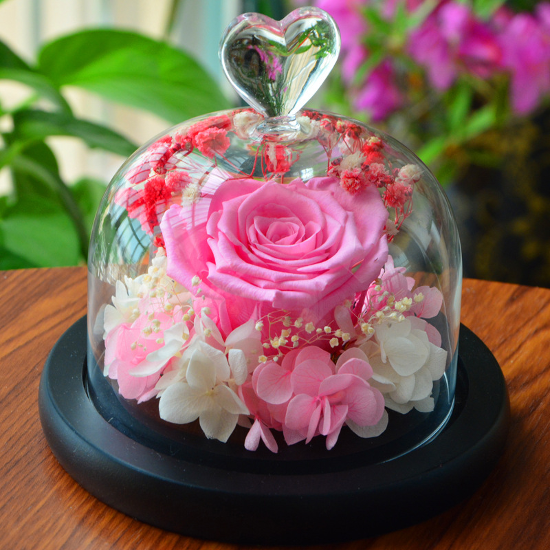 flores artificiales Decorated Prince glass cover rose eternal immortal Valentine's Day Christmas Wedding DIY artificial flowers