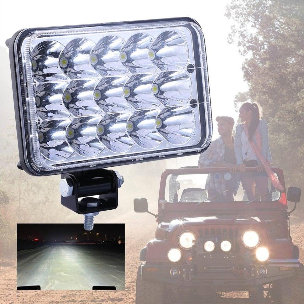 1 Pair Universal 15 Leds Car Headlights Brightness Clear Sealed Beam