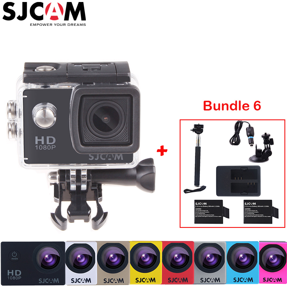 Original Sjcam SJ4000 2 Screen 12MP 1080P 30M Waterproof Sports Action Camera DVR +2 Battery+Dual Charger+Selfies Stick+Car Kit