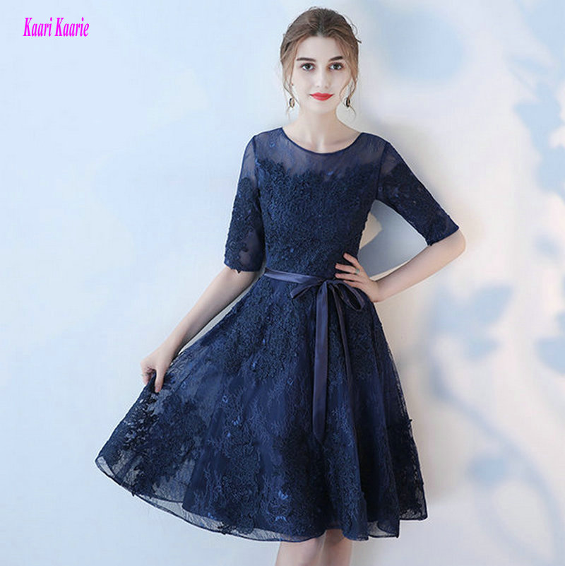 Advanced Dark Navy   Prom     Dress   2019 Sexy Porm Gowns Custom Made O-Neck Lace Appliques Knee-Length   Prom   Party   Dresses   High Quality