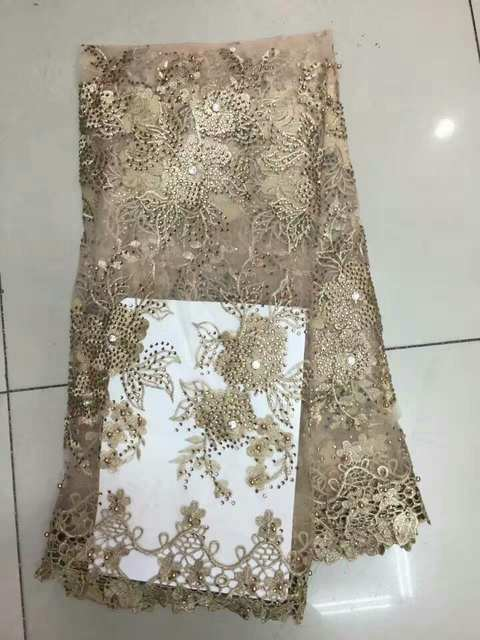 placeholder Fashion African Pearl Lace Fabrics Grey Yellow Special Gold  Nigerian French Lace Fabric 5d990670a