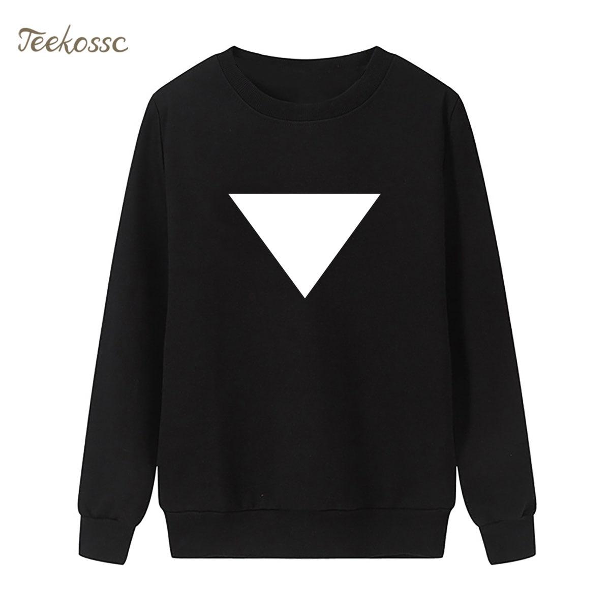 Triangle Print Sweatshirt Black White Hoodie 2018 New Fashion Winter Autumn Women Lasdies Pullover Loose Fit Fleece Sportswear