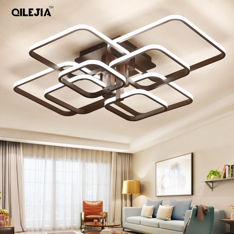 Modern ceiling lights Rectangle led lamp for living room bed room Acrylic balck white color painted