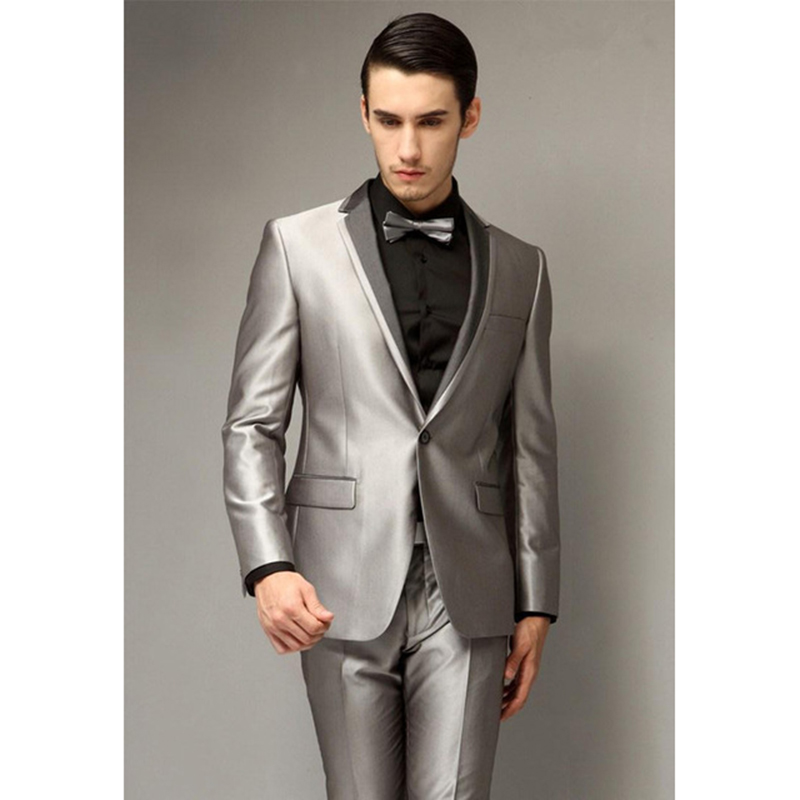 One Button Slim Fit Groom Tuxedo Notch Lapel Silver gray Groom mens suit 2017 Best Man Wedding Prom Suits for men (jacket+Pants)