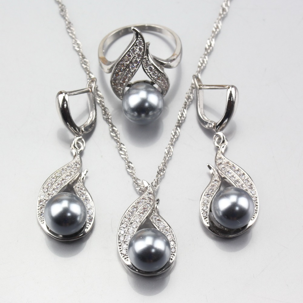 Earrings Pendant Pearl-Jewelry-Sets Gray 925-Silver Women Costuming-Decoration For Natural