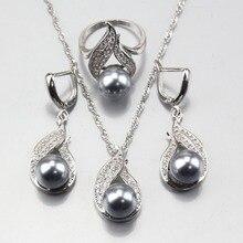 11,11 925 серебро серый натуральный жемчуг ювелирные наборы серьги кулон ожерелье кольцо для женщин костюмированное украшение