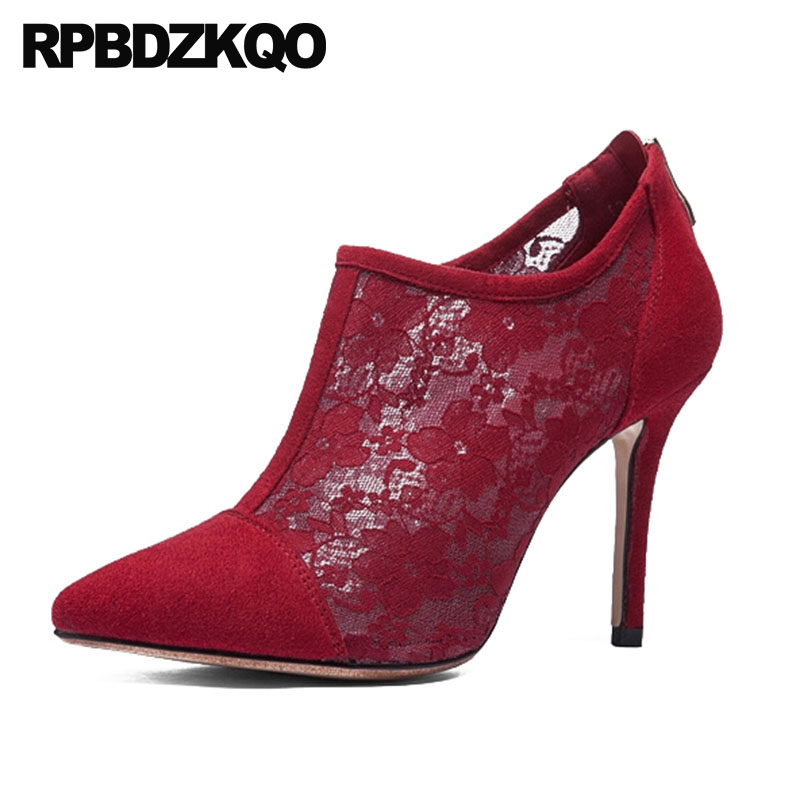 Stiletto Big Size Ankle Red Sandals Booties Lace Sexy High Heel Luxury Brand Shoes Women 2018 Wedding Pointed Toe Boots Bridal flower embroidery bridal winter chinese lace up women ankle boots medium heel embroidered red satin wedding booties stiletto