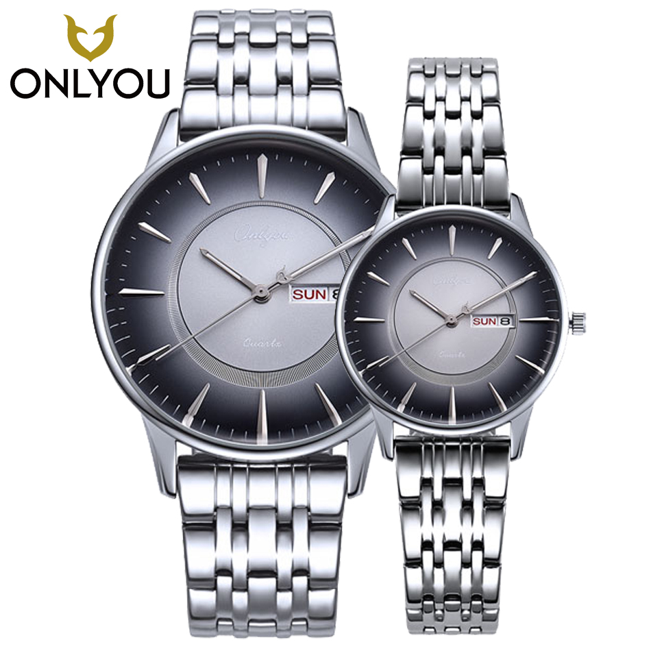 ONLYOU Business Casual Men Watch Sport Style Lovers Watches Week Display Stainless Steel Women Watches Ladies Military Clock onlyou luxury brand fashion watch women men business quartz watch stainless steel lovers wristwatches ladies dress watch 6903