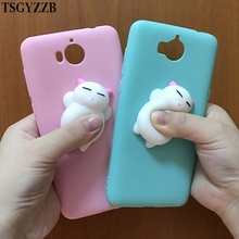 For Huawei Y5 2017 Case Y6 Cover Cute Candy Color 3D Squishy Cat Silicon Cartoon Slim Soft Phone Cases III 3