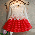 3-8Y Girls Crochet Dress  Princess  Lace Long Sleeve Baby Girl TuTu dresses Kids Party Clothes