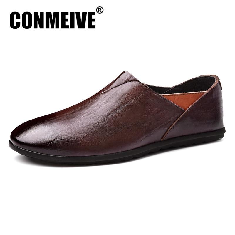 جديد وصول العلامة التجارية أحذية الرجال الشقق متعطل الرجال تنيس الجلود الأخفاف مبيعات كاسينز الانزلاق على قارب تنفس عارضة جولة تو