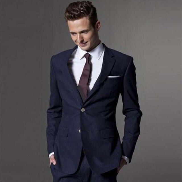 Azul Marino hombres traje a medida traje Custom Made trajes de boda para  hombres Slim Fit db69e3e2e95