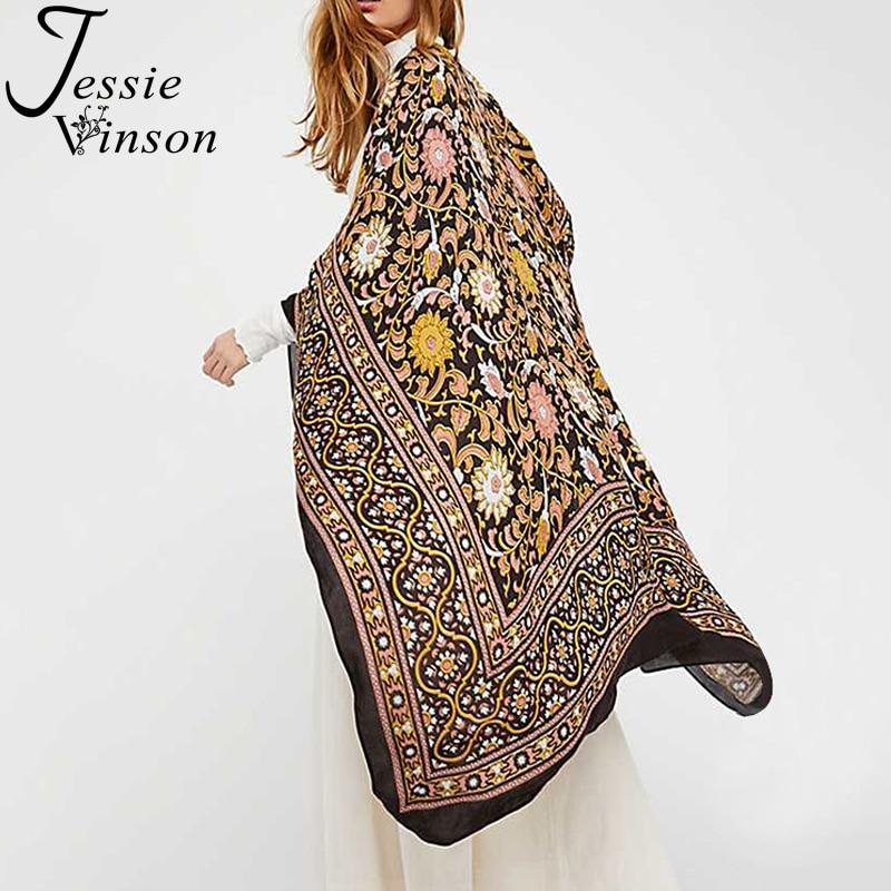 Jessie Vinson Short Batwing Sleeve Boho Print Long Chiffon Kimono Plus Size Women Bohemian Kimono Cardigan Beach Cover Up Blouse