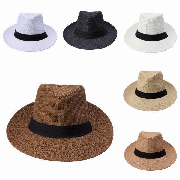Moda verano Casual Unisex Beach Trilby gran Jazz ala del sombrero del sol  panamá sombrero de paja de papel mujeres hombres gorra con la cinta negro en  ... 9f815e72d82