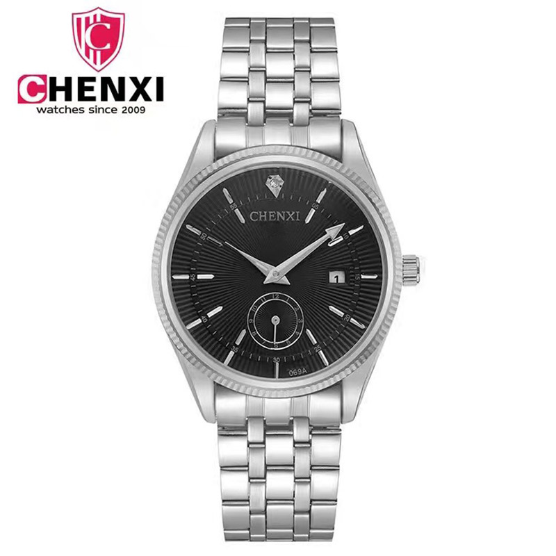 CHENXI 2017 Luxury Men Watches Silver Stainless Steel Date Waterproof Man Business Wristwatch Male Unique Casual Clock Sport стоимость