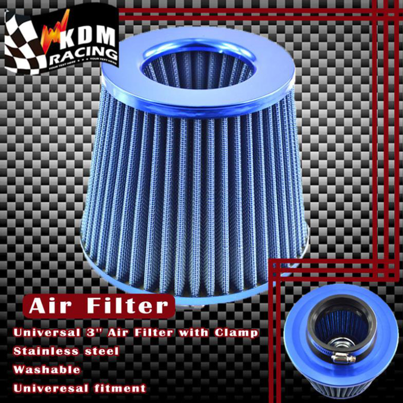 3'' Inch Universal Car Filter Air 76 mm Car high flow air filter Intake Cold Air Turbo Air Cleaner Red Blue Silver Carbon Fiber cnspeed air intake pipe kit for ford mustang 1989 1993 5 0l v8 cold air intake induction kits with 3 5 air filter yc100689