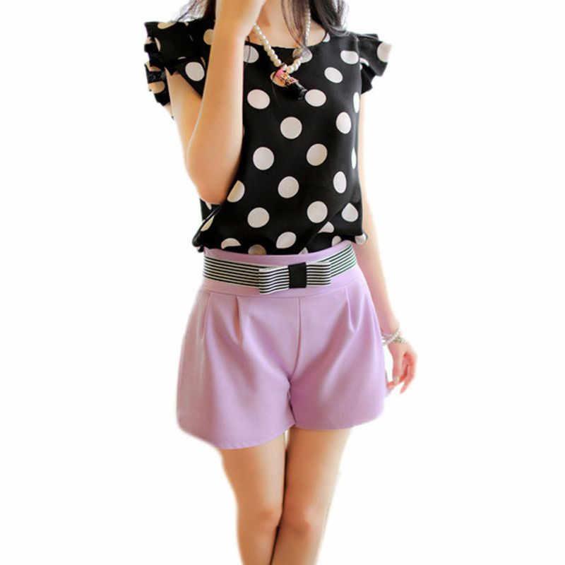 สาวแฟชั่นผู้หญิงสบายๆเสื้อชีฟองแขนสั้นเสื้อฤดูร้อนสีดำสีขาว