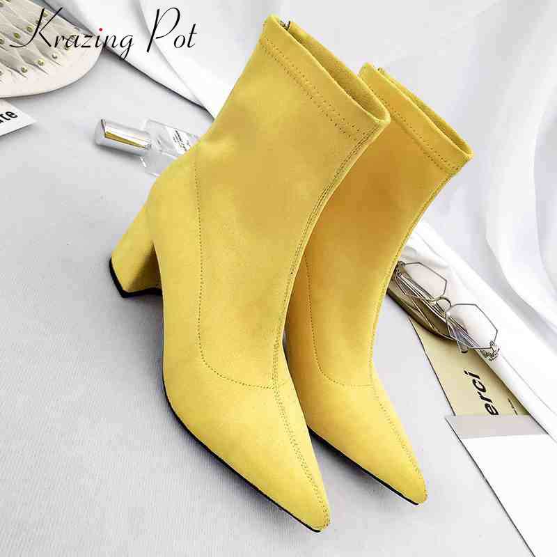 Krazing pot high quality velvet flock Korean style ankle boots square heels brand women shoes pointed toe motorcycles boots L52 inflatable biggors wholesale price inflatable bouncer slide with pool for water park