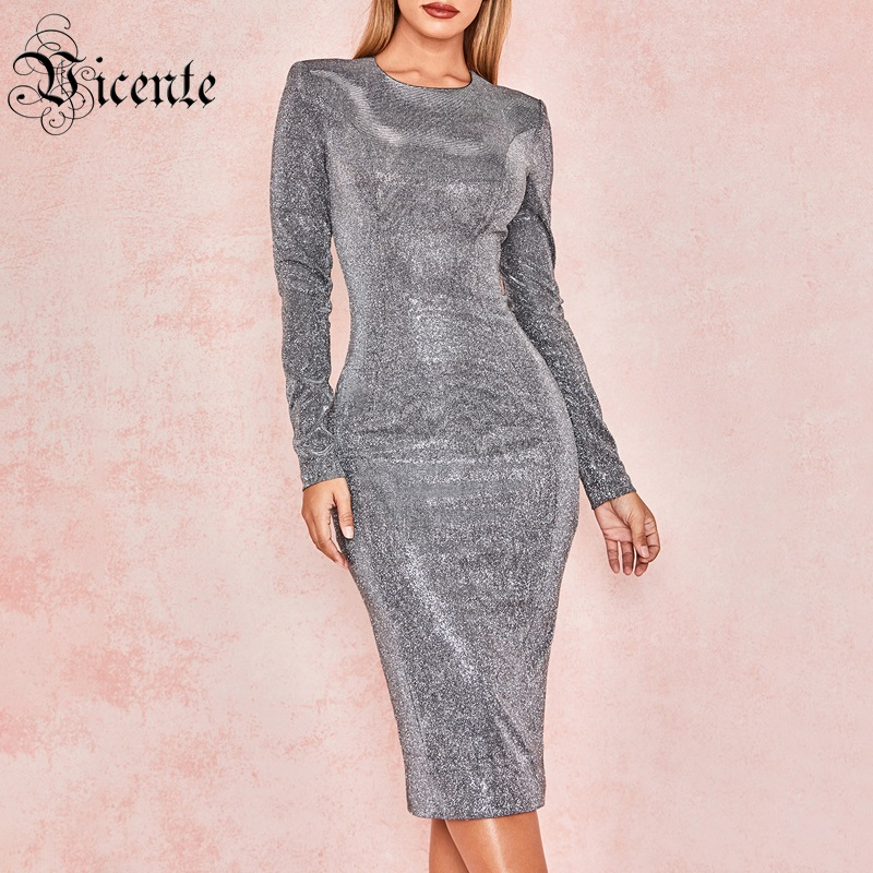 Vicente 2019 New Trendy Sparkly Silver Dress Long Sleeves O Neck Knee Length Celebrity Party Club