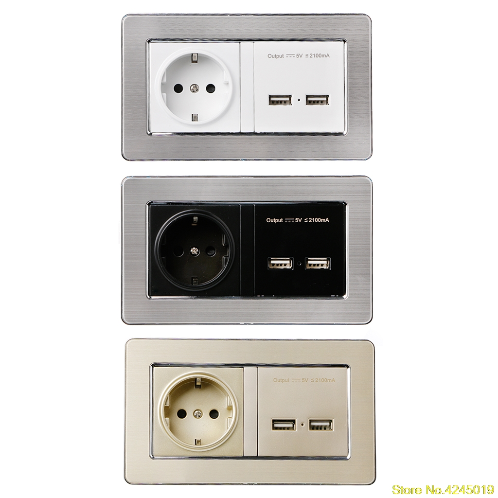 High Quality Wall Socket EU Standard Power Outlet With Dual USB Charge Port For Mobile 5V 2.1A Output Stainless Steel Panel coswall wall socket uk standard power outlet switched with dual usb charge port for mobile 5v 2 1a output stainless steel panel