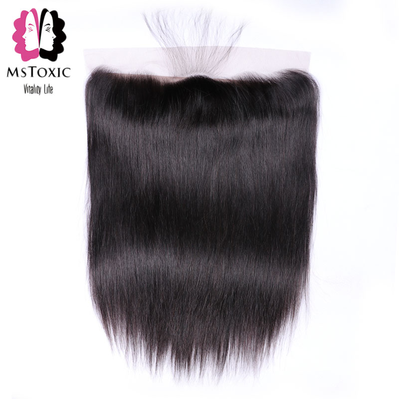 Mstoxic Hair 13x4 Lace Frontal Closure With Baby Hair Peruvian Straight Hair Frontal Free Part Swiss Lace Non-Remy Human Hair