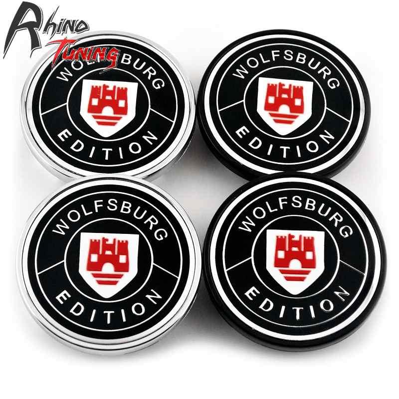 3B7601171 66mm Wolfsburg Edition Red Wolf Black ABS Car Wheel Center Hub Caps Set of 4