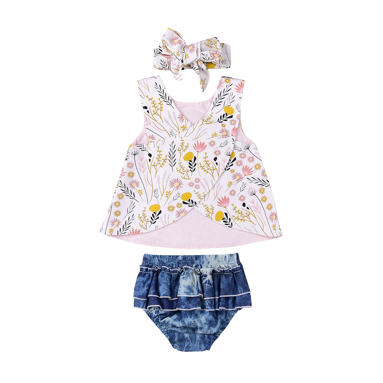 3pcs Summer Toddler Kids Baby Girl Clothing Floral Sleeveless T-shirt Top+Denim Shorts Pants Clothes Set
