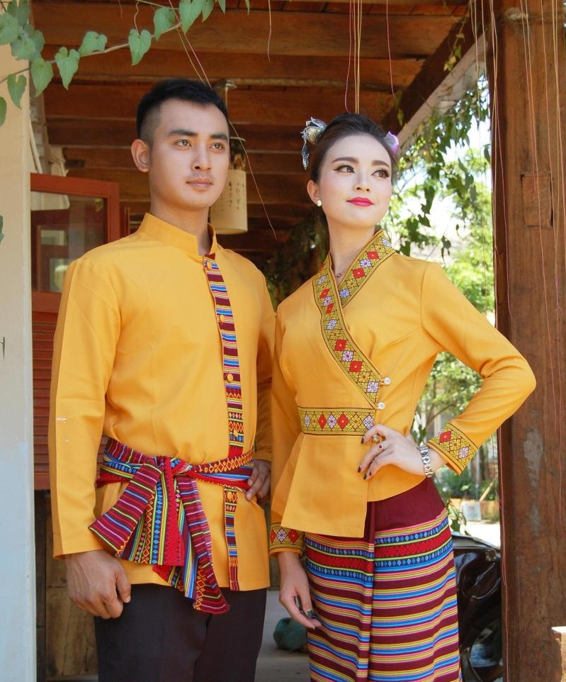 South East Asia Thailand Laos YunNan Hotel uniform Orange yellow long sleeve Top skirt collocation suits men women Special wear 2